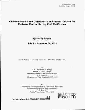 Primary view of object titled 'Characterization and optimization of sorbents utilized for emission control during coal gasification. Quarterly report, July 1--September 30, 1995'.