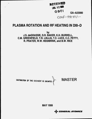 Primary view of object titled 'Plasma rotation and rf heating in DIII-D'.