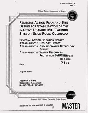 Primary view of object titled 'Remedial action plan and site design for stabilization of the inactive uranium mill tailings sites at Slick Rock, Colorado. Final report'.