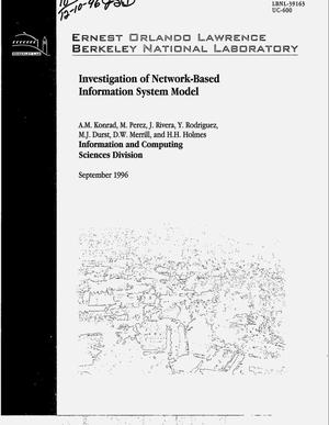 Primary view of object titled 'Investigation of network-based information system model'.