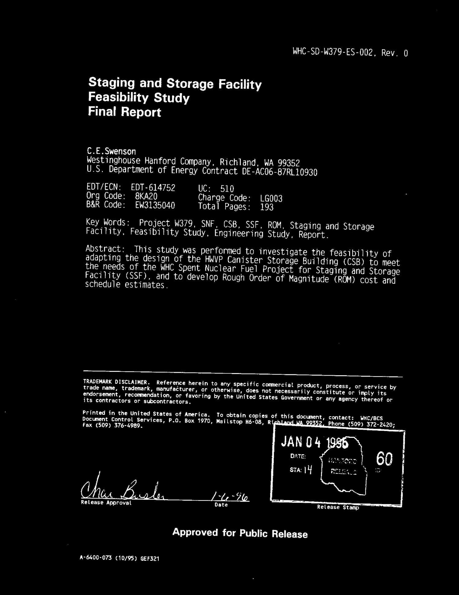Staging and storage facility feasibility study. Final report                                                                                                      [Sequence #]: 3 of 194