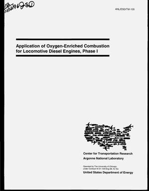 Primary view of object titled 'Application of oxygen-enriched combustion for locomotive diesel engines. Phase 1'.