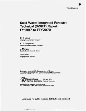 Primary view of object titled 'Solid waste integrated forecast technical (SWEFT) report: FY1997 to FY 2070 - Document number changed to HNF-0918 at revision 1 - 1/7/97'.