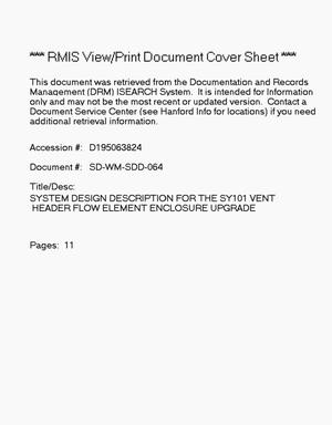 Primary view of object titled 'System design description for the SY-101 vent header flow element enclosure upgrades'.