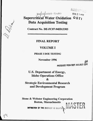 Primary view of object titled 'Supercritical water oxidation data acquisition testing. Final report, Volume I'.