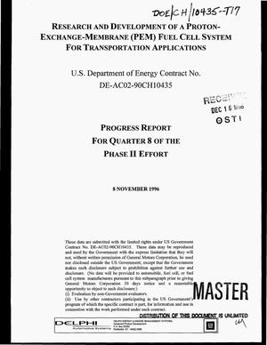 Primary view of object titled 'Research and development of a Proton-Exchange-Membrane (PEM) fuel cell system for transportation applications. Progress report for Quarter 8 of the Phase II effort, July 1, 1996--September 30, 1996'.