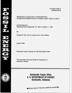 Primary view of object titled 'Improved oil recovery in Mississippian carbonate reservoirs of Kansas -- Near term -- Class 2. Annual report, September 18, 1994--October 1, 1995'.