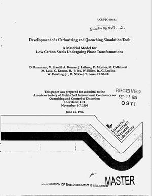 Primary view of object titled 'Development of a carburizing and quenching simulation tool: A material model for low carbon steels undergoing phase transformations'.