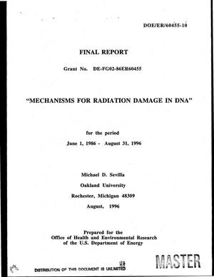 Primary view of object titled 'Mechanisms for radiation damage in DNA. Final report, June 1, 1986--August 31, 1996'.