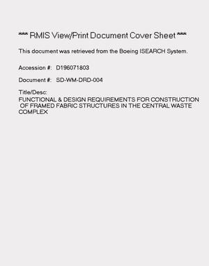 Primary view of object titled 'Functional and design requirements for construction of framed fabric structures in the CWC'.