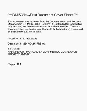 Primary view of object titled 'Final report Hanford environmental compliance project 89-D-172'.
