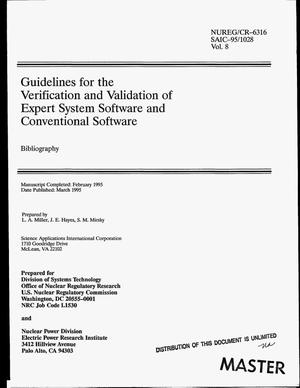 Primary view of object titled 'Guidelines for the verification and validation of expert system software and conventional software: Bibliography. Volume 8'.