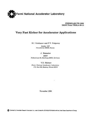Primary view of object titled 'Very fast kicker for accelerator applications'.