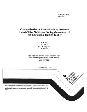 Primary view of object titled 'Characterization of fluence limiting defects in hafnia/silica multilayer coatings manufactured for the National Ignition Facility'.