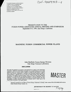 Primary view of object titled 'Magnetic fusion commercial power plants'.