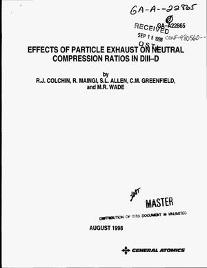 Primary view of object titled 'Effects of particle exhaust on neutral compression ratios in DIII-D'.
