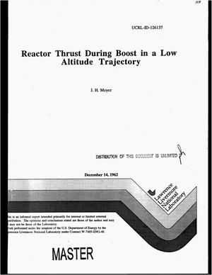 Primary view of object titled 'Reactor thrust during boost in a low altitude trajectory'.