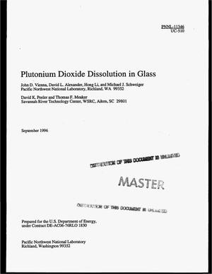 Primary view of object titled 'Plutonium dioxide dissolution in glass'.
