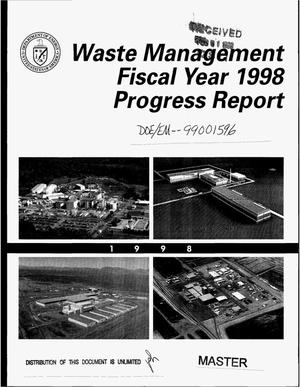 Primary view of object titled 'Waste management fiscal year 1998 progress report'.