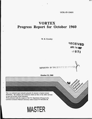 Primary view of object titled 'VORTEX: Progress report for October 1960'.