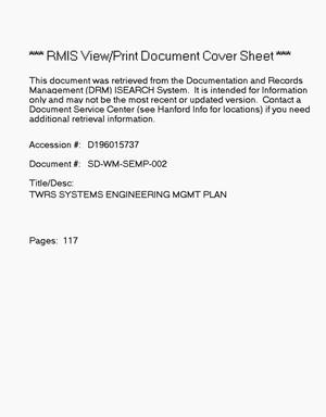 Primary view of object titled 'Tank waste remediation system systems engineering management plan'.