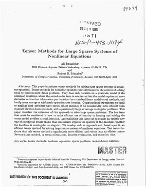 Primary view of object titled 'Tensor methods for large sparse systems of nonlinear equations'.