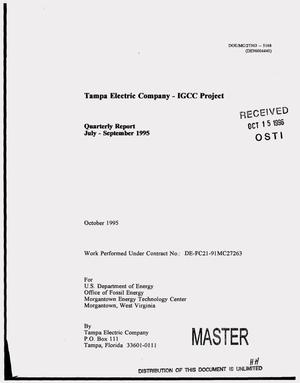 Primary view of object titled 'Tampa Electric Company -- IGCC Project. Quarterly report, July--September 1995'.