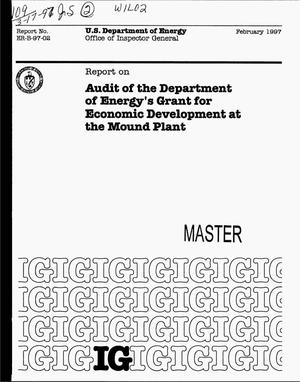 Primary view of object titled 'Office of Inspector General report on audit of the Department of Energy`s grant for economic development at the Mound Plant'.