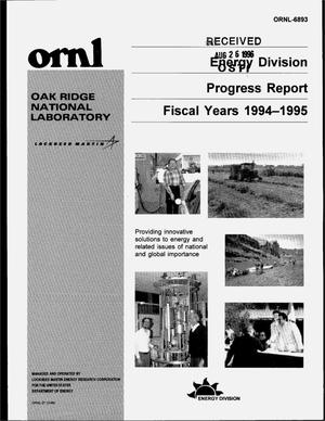 Primary view of object titled 'Energy Division progress report, fiscal years 1994--1995'.