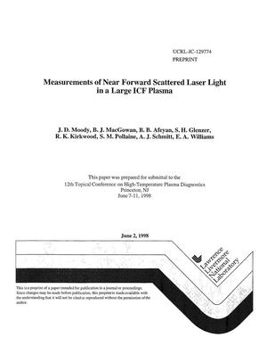 Primary view of object titled 'Measurements of near forward scattered laser light in a large ICF plasma'.