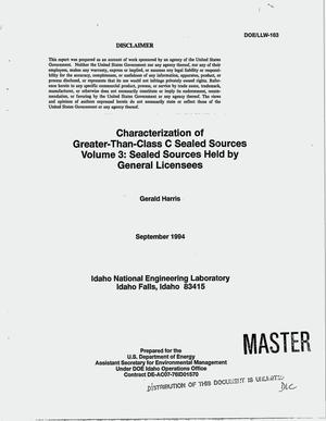 Primary view of object titled 'Characterization of Greater-Than-Class C sealed sources. Volume 3, Sealed sources held by general licensees'.