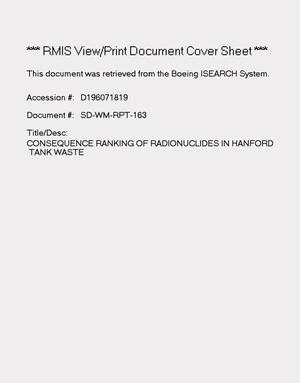 Primary view of object titled 'Consequence ranking of radionuclides in Hanford tank waste'.