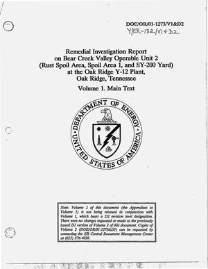 Primary view of object titled 'Remedial Investigation Report on Bear Creek Valley Operable Unit 2 (Rust Spoil Area, Spoil Area 1, and SY-200 Yard) at the Oak Ridge Y-12 Plant, Oak Ridge, Tennessee. Volume 1, Main text'.