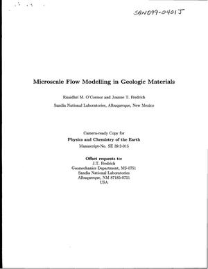 Primary view of object titled 'Microscale Flow Modeling in Geologic Materials'.