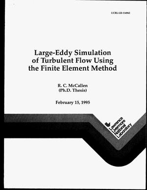 Primary view of object titled 'Large-eddy simulation of turbulent flow using the finite element method'.