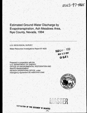 Primary view of object titled 'Estimated ground-water discharge by evapotranspiration, Ash Meadows Area, Nye County, Nevada, 1994'.