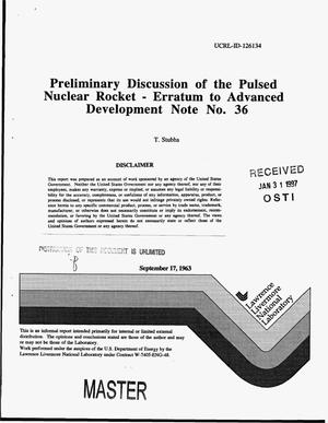 Primary view of object titled 'Preliminary discussion of the pulsed nuclear rocket erratum to advanced development note no. 36'.