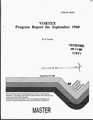Primary view of object titled 'VORTEX: Progress report for September 1960'.