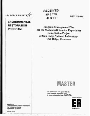 Primary view of object titled 'Program management plan for the Molten Salt Reactor Experiment Remediation Project at Oak Ridge National Laboratory, Oak Ridge, Tennessee'.