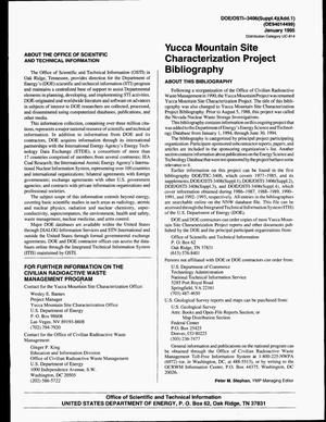 Primary view of object titled 'Yucca Mountain Site Characterization Project Bibliography, January--June 1993. An update: Supplement 4, Addendum 1'.