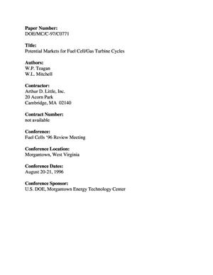Primary view of object titled 'Potential markets for fuel cell/gas turbine cycles'.