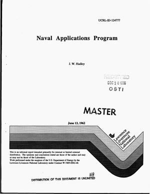 Primary view of object titled 'Naval applications program'.