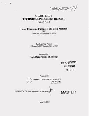 Primary view of object titled 'Laser ultrasonic furnace tube coke monitor. Quarterly technical progress report, February 1, 1999--May 1, 1999: Report number 4'.