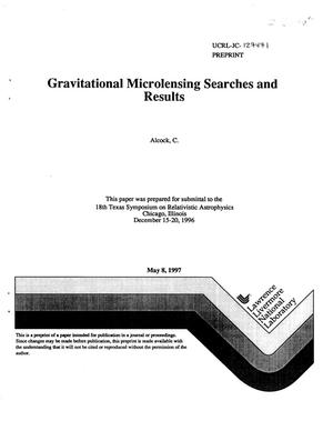 Primary view of object titled 'Gravitational microlensing searches and results'.