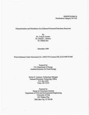 Primary view of object titled 'Characterization and simulation of an exhumed fractured petroleum reservoir. Final report, March 18, 1996--September 30, 1998'.
