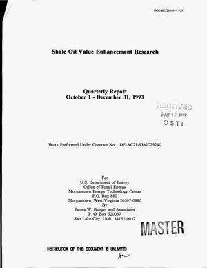Primary view of object titled 'Shale oil value enhancement research. Quarterly report, October 1, 1993--December 31, 1993'.