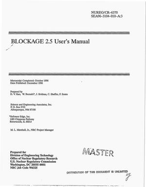 Primary view of object titled 'BLOCKAGE 2.5 user`s manual'.