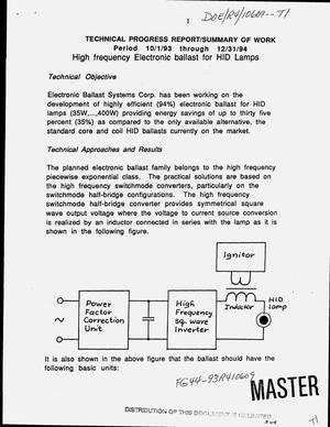 Primary view of object titled 'High frequency electronic ballast for HID lamps. Technical progress report, October 1, 1993--December 31, 1994'.