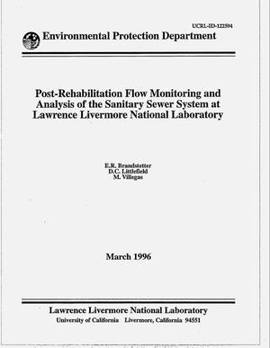 Primary view of object titled 'Post-rehabilitation flow monitoring and analysis of the sanitary sewer system at Lawrence Livermore National Laboratory'.