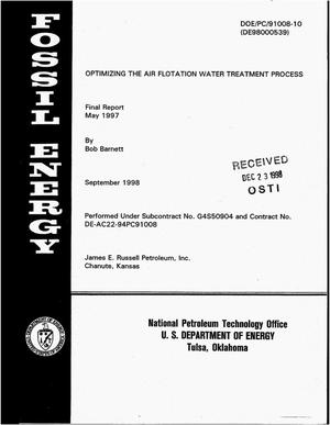 Primary view of object titled 'Optimizing the air flotation water treatment process. Final report, May 1997'.